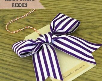Wide Grape Candy Stripe Ribbon 3 yards