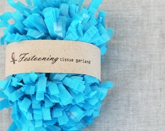4 Yds of Turquoise Blue Tissue Garland