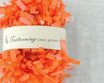4 Yds of Orange  Tissue Garland