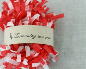 Wholesale 8 yard roll of Red and White Tissue Garland Fringe Trim