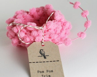 Wholesale 25 yard roll of Pink wired pom pom garland trim