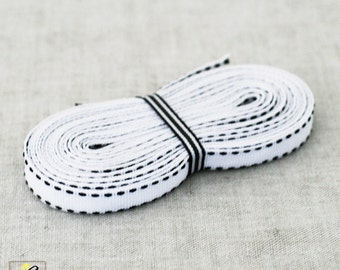 White/Black saddle stitch 3/8 inch grosgrain ribbon 4yds