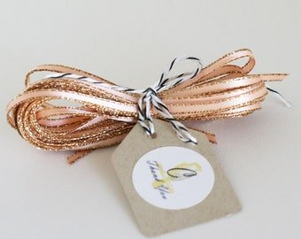 Wholesale Peach Blush Sparkle Satin Twine Ribbon 50 yards