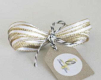 Wholesale White Sparkle Satin Twine Ribbon 50 yards