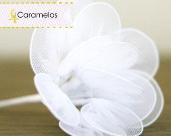 24  White Nylon Netting Millinery Leaves