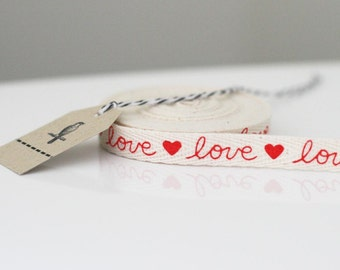 4 yards of Love valentines twill cotton ribbon