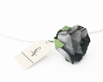 Set of 6 Large Gray Black Millinery paper roses