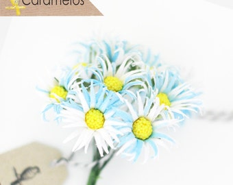 12 Vintage style Blue Fabric Daisy Flowers