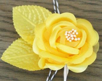 Set of 3 Golden Yellow Satin Finish Millinery Roses