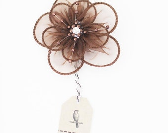 CLEARANCE! 3 Brown Organza Flowers