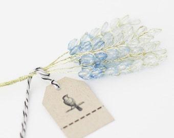 12 BLue Millinery Wheat Acrylic  Beaded Stems Flowers