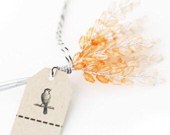12 Peach Millinery Wheat Acrylic  Beaded Stems Flowers