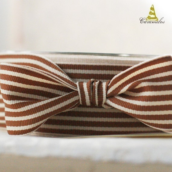 Brown and Cream Stripe Grosgrain Ribbon