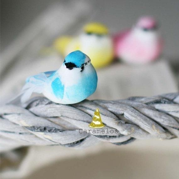 Set of 6 Pastel Mini mushroom birds
