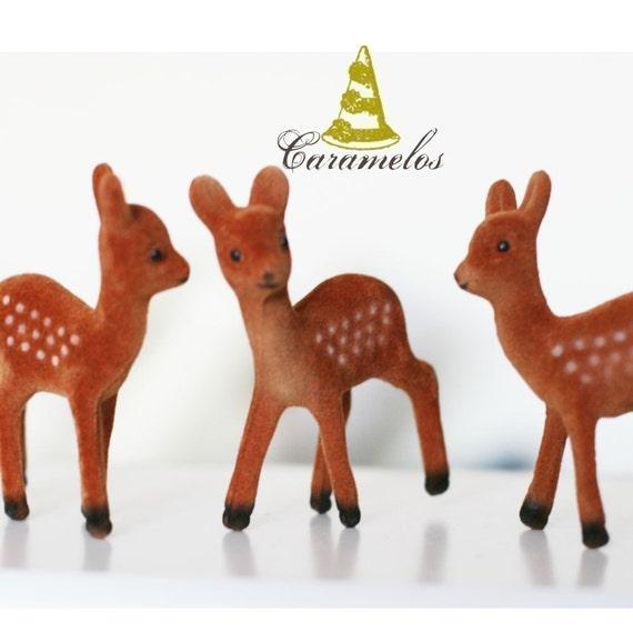 Set of 6 Standing Flocked Deer