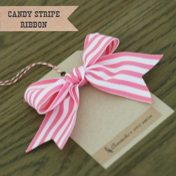 Wide Pink Candy Stripe Ribbon 3 yards