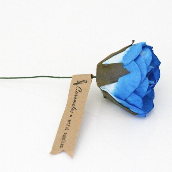 Set of 6 Large Blue paper roses