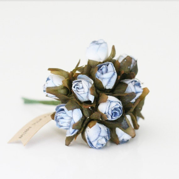Bulk 144 Blue millinery paper flowers
