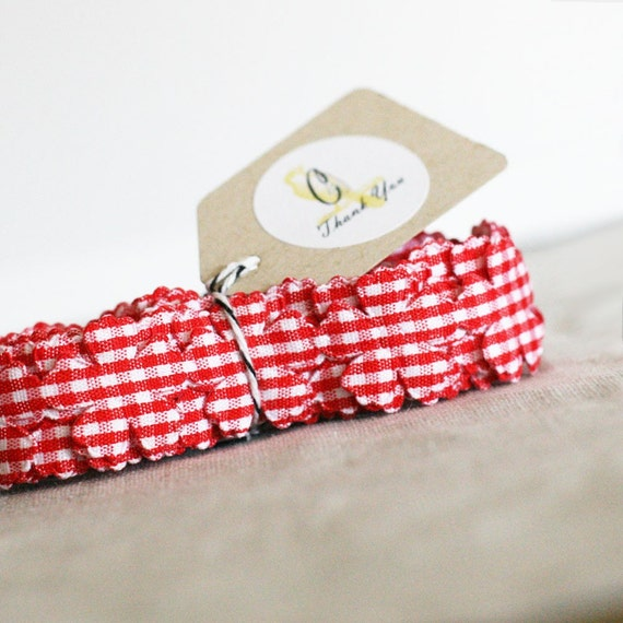 Red Gingham Check Flower ribbon 3 yards