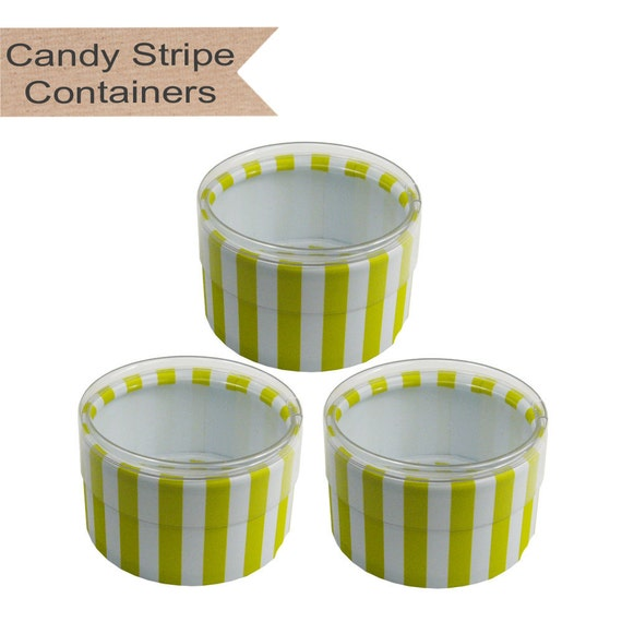 CLEARANCE! Lime Green Candy Stripe Containers set of 6