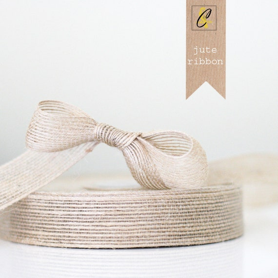 3 yards of Natural Jute Ribbon 1""
