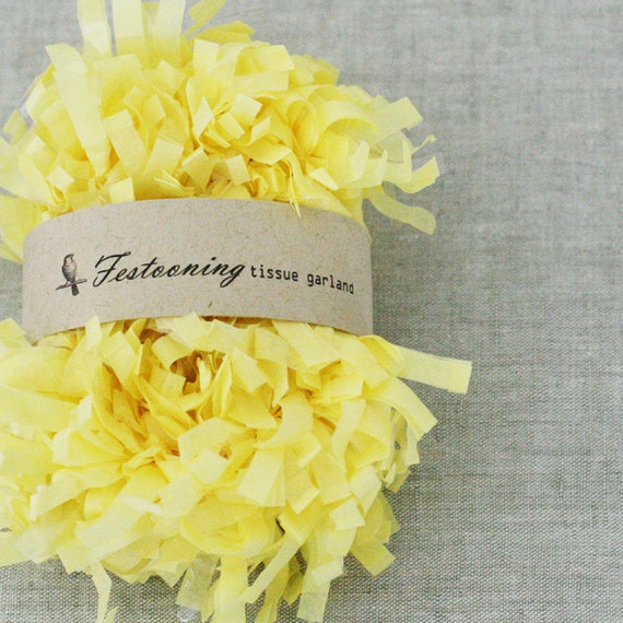 4 Yds of Yellow Tissue Fringe Garland