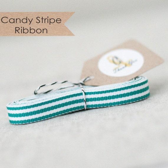 Teal Candy Stripe Ribbon 4 yards