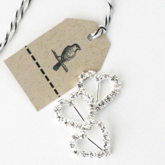 Set of 6 metal rhinestone heart ribbon sliders/charms