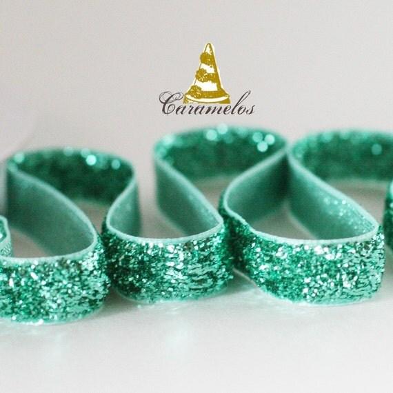 Aqua Glitter Ribbon 5yds