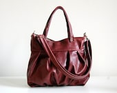Mini Ruche Bag in Port Leather  - LAST ONE - Ready to Ship