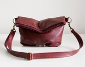 Foldover Clutch in Cranberry Leather - LAST ONE - Ready to Ship