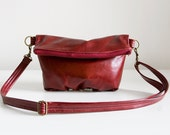 Foldover Clutch in Ruby Red Leather - Ready to Ship