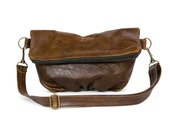 Foldover Clutch in Old West Brown Leather - LAST ONE - Ready to Ship