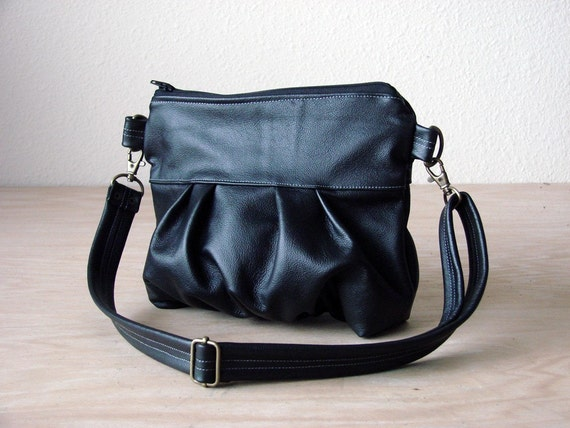 Clutch in Black Genuine Leather - Made to Order