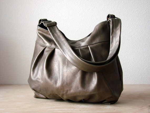 LAST ONE - Baby Ruche Bag in Grunge Gold Leather - Made to Order