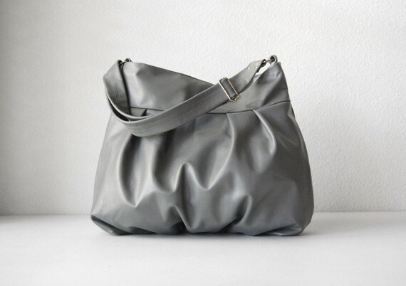 Baby Ruche Bag in Gray Leather - LAST ONE - Made to Order