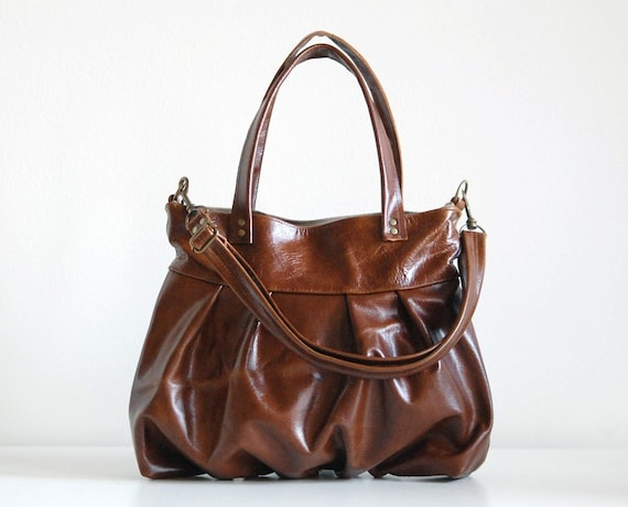 Mini Ruche Bag in Chestnut Brown Leather - SECOND - Ready to Ship