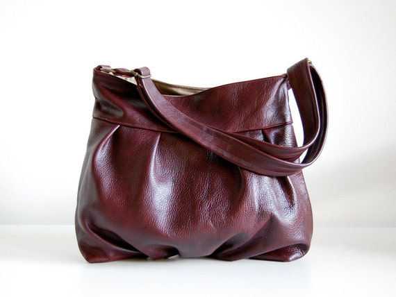 Baby Ruche Bag in Merlot Leather -  LAST ONE - Ready to Ship