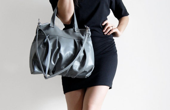 Mini Ruche Bag in Gray Leather - LAST ONE - Made to Order