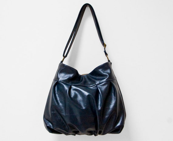 Baby Ruche Bag in Dark Navy Blue Leather - LAST ONE - Made to Order