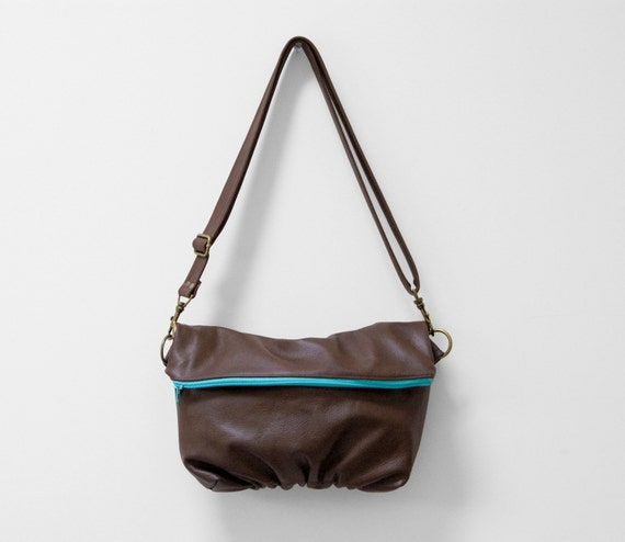 Foldover Clutch in Brown Leather and Aqua Neon Zipper - Ready to Ship