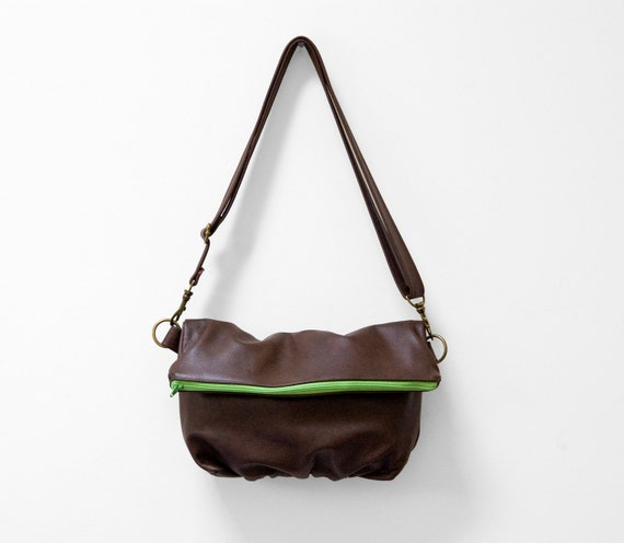 Foldover Clutch in Brown Leather and Lime Neon Zipper - SALE - Ready to Ship