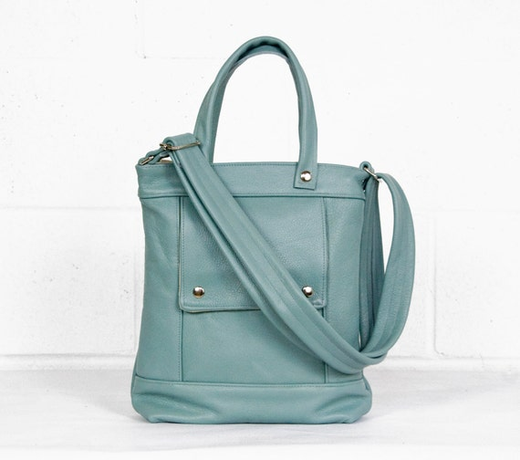 Packet in Vintage Mint Leather - LAST ONE - Ready to Ship