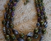 Crown Trifari 3 Strand Beaded Choker Necklace