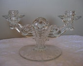 Fostoria Crystal Glass Double Light Candle Stick with Etched  Willowmere Pattern
