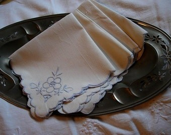Four Lovely Off White Linen Napkins with Blue Flowers