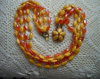 Bright Beautiful Orange Multi Strand Plastic Beaded Choker Necklace