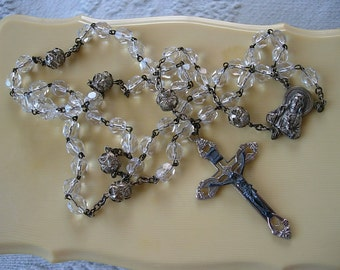Clear Cut Glass Silver Tone Beaded Rosary