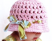Modern Party Cloche with Ribbon Sizes 6-12 Months or 1-2 Years