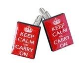 Keep Calm and Carry On Cuff links in Red